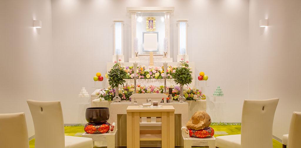 小規模な家族葬に最適なビジテーションルーム。